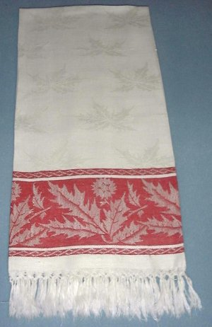 Special Vintage Turkey Red Macrame Fringed Towel