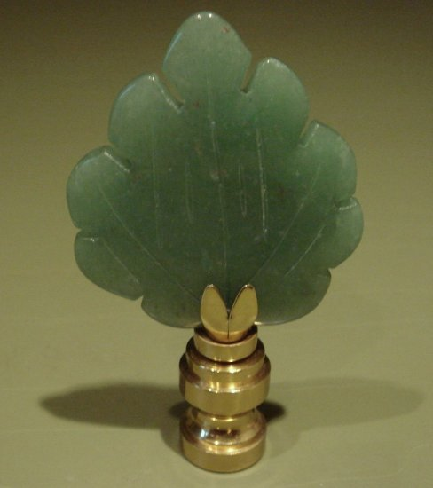 Lamp Accessory Carved Leaf Green Jade Stone Finial