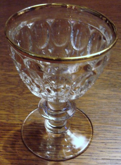 THUMBPRINT Liquor Cocktail Gold Rim Jeannette Glass Co.