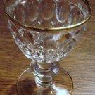 THUMBPRINT Liquor Cocktail Gold Rim Jeannette Glass Co.