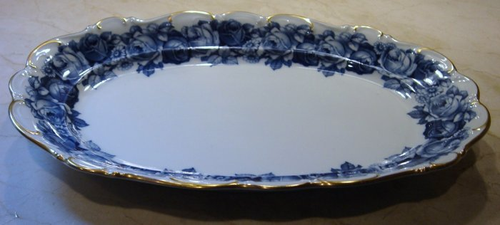 Schumann Bavaria HEIRLOOM Oval Serving Platter Blue & White Transferware