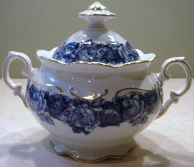 Schumann Bavaria HEIRLOOM Sugar Bowl with Lid Blue & White Roses Transferware