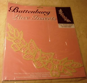 "Battenberg Lace Insert Trim 11"" Butterfly Swag New in Pkg"