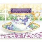 Grape Thank You Tea Cup Greeting Card SET of 6