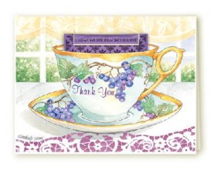 Grape Thank You Tea Cup Greeting Card SET of 6