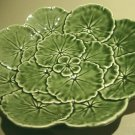 Vintage Green Portugal Majolica Pottery Plate Geranium Leaves