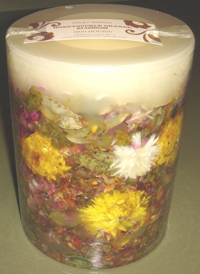Honeysuckle Orange Blossom Botanical Pillar Rosy Rings Candle