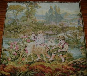 20 in Italian Tapestry with Children and Sheep Figural