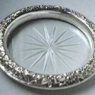 S Kirk & Son Inc Sterling Silver Repousse & Cut Glass Coaster