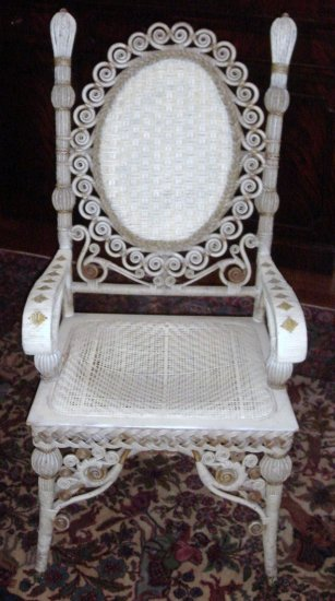ORNATE ca. 1880 Victorian Wakefield Rattan Co. Chair Armchair