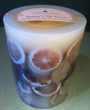 Rosewood & Red Berries Pillar Botanical Candle by Rosy Rings