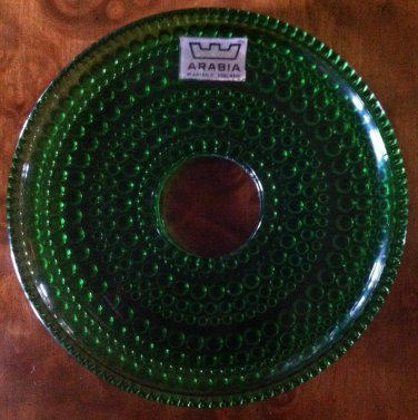 """3"""" Forest Green Glass Bobeche, Candle Ring, Finland, Bubbles, 4 available, NOM"""