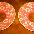 Pair of Salmon Porcelain with Cream Floral Bobeches, Rings for Candles