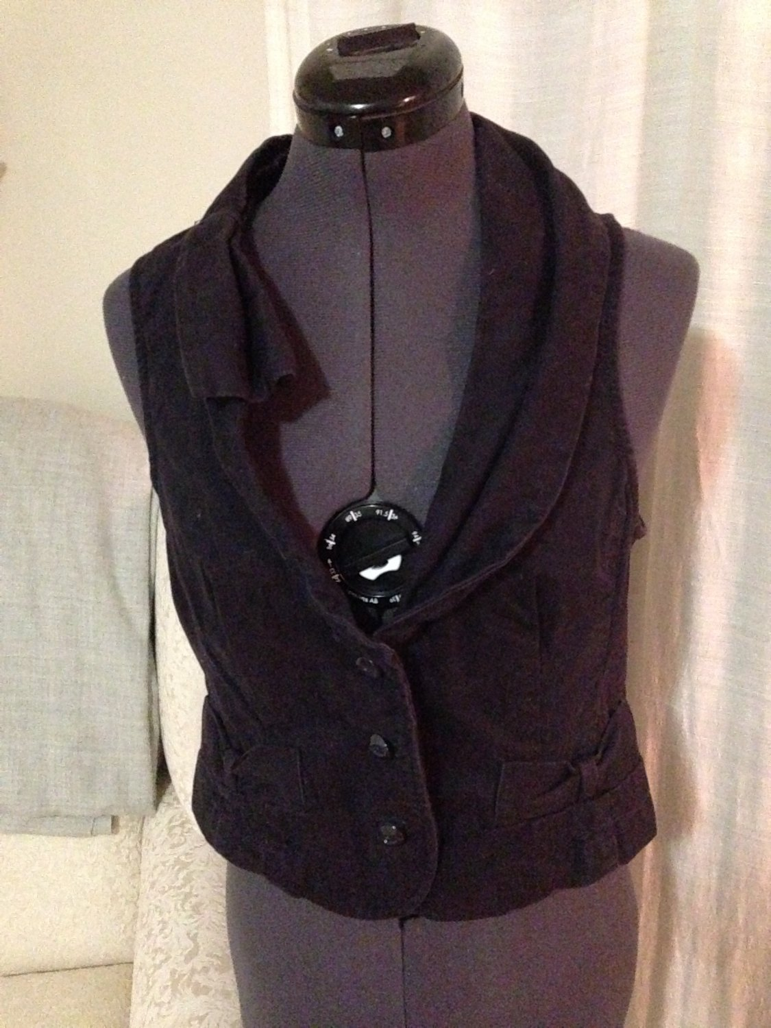 Asymmetrical Navy Vest, Anthropolgie, Size 10