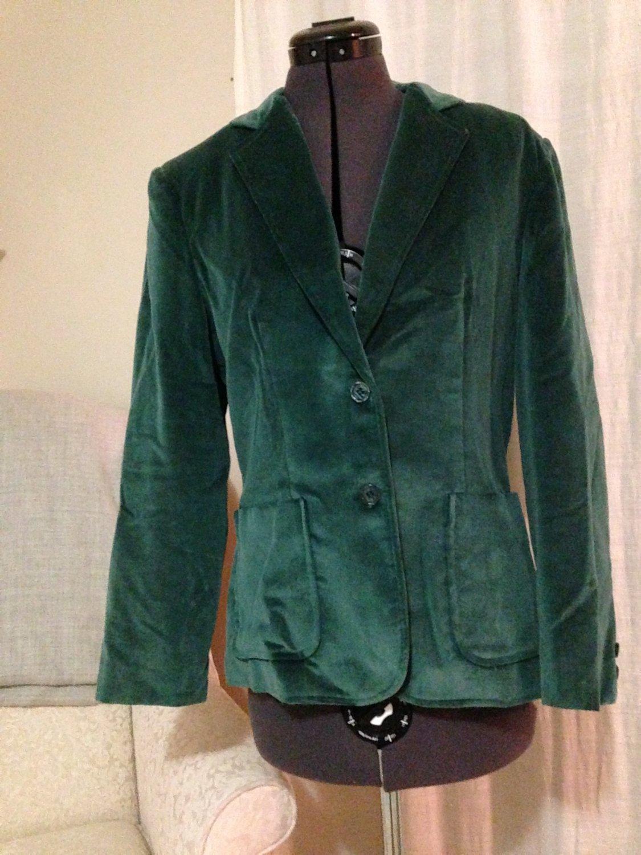 Vintage Velvet Forest Green Blazer, The Branch, Size 6-10