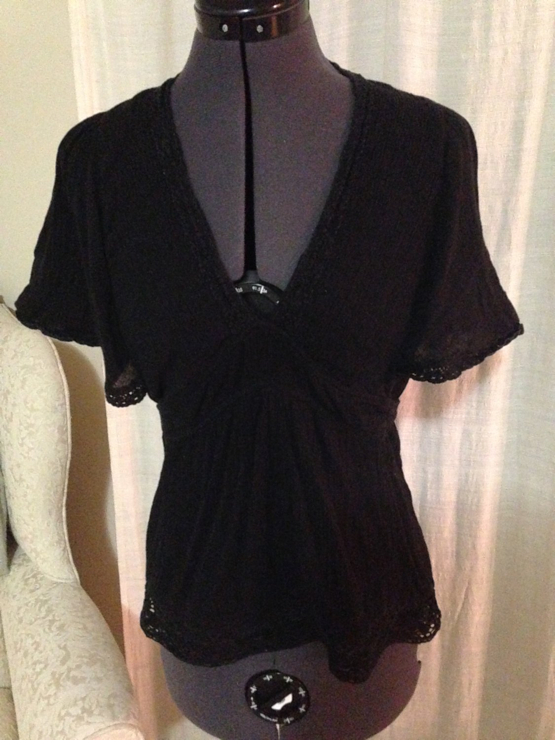 Loose Black Blouse, Anthropologie, Size 2