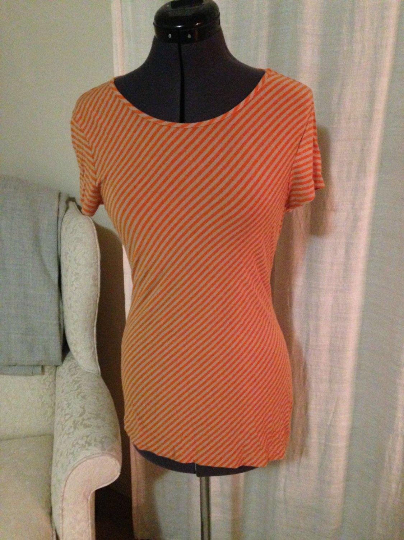 Orange and Tan Striped Top, Banana Republic, Size XS