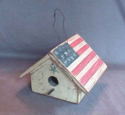 Wonderful Hand Made Flag Birdhouse Patriotic Bird House