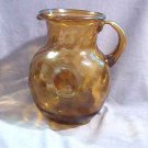 Large Amber Glass Hand Blown Swirl Pitcher 3 Quart