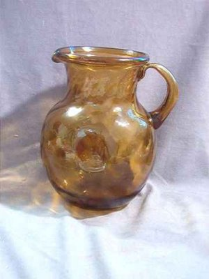 Large Amber Glass Hand Blown Swirl Pitcher 3 Quart