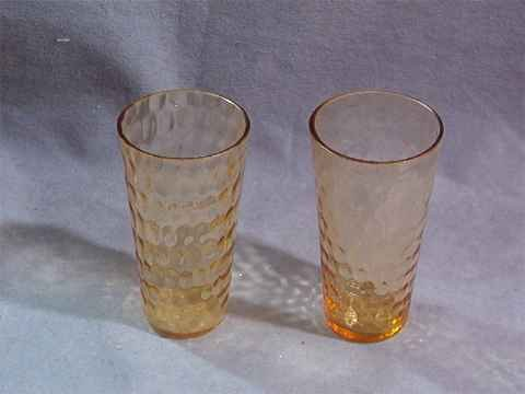 Amber Depression Honeycomb Optic Bubble Juice Tumblers
