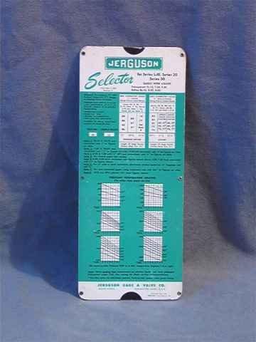 1962 Jerguson Selector Pocket Slide Rule Valves