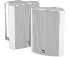 Dual White 2-Way Indoor-Outdoor Satellite Speakers