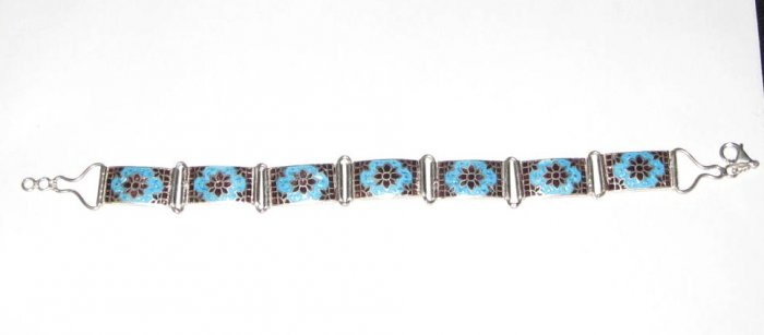 MN268 Hand Painted Enameled Sterling Silver Bracelet