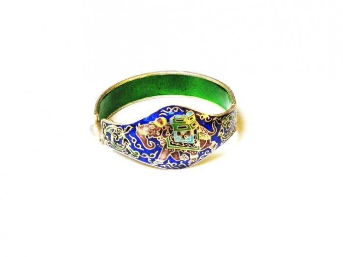 Enameled Elephant Sterling Silver Bracelet