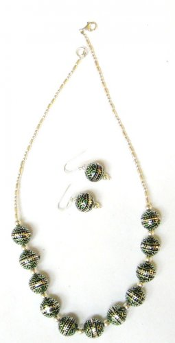 MN266 Sterling Silver Necklaced with Enameled Silver Beads. Comes with Earrings