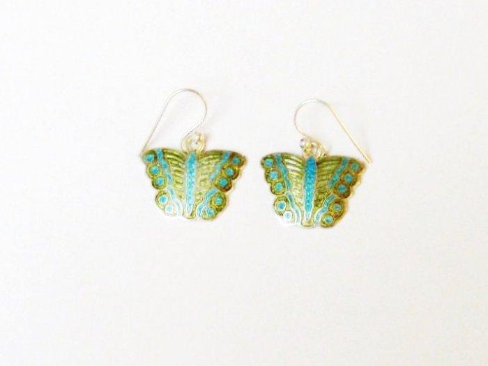 Butterfly Enameled Sterling Silver Ear RIngs