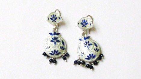 Blue Lotus Sterling Silver Ear Rings