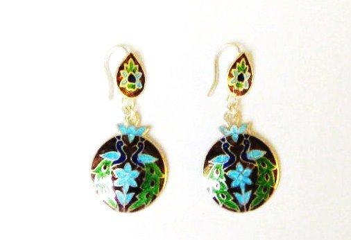 Peacock Enameled Sterling Silver Ear Rings