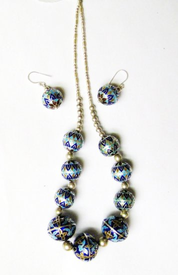 Blue Beaded Necklace and Ear Ring Set