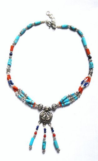 TQ006       Turquoise, Lapis Lazuli and Coral Necklace in Sterling Silver