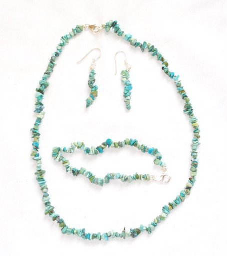 TQ062       Turquoise Earrings, Necklace and Bracelet Set