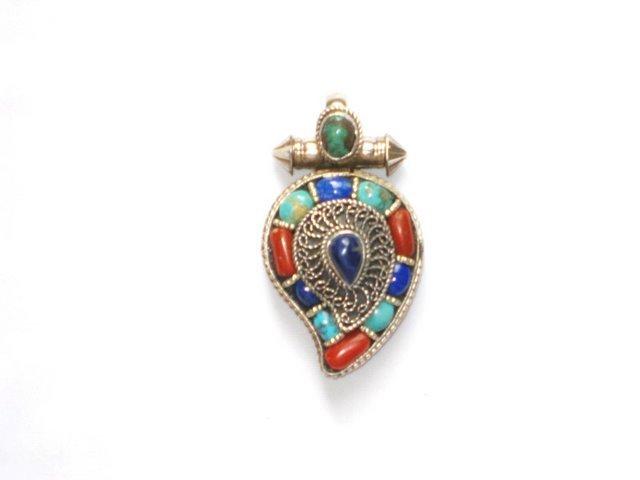 TB002       Tibetan Turquoise Coral and Lapis Lazuli Pendant
