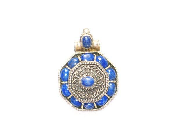 TB003       Tibetan Lapis Lazuli Sterling Silver Pendant