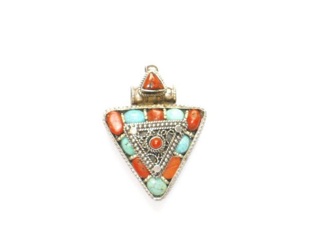 TB006       Tibetan Coral and Turquoise Pendant in Sterling Silver