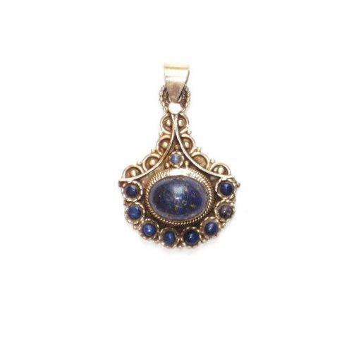 Tibetan Lapis Lazuli Sterling Silver Pendant