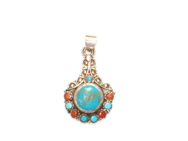 TB013       Tibetan Coral and Turquoise Pendant in Sterling Silver