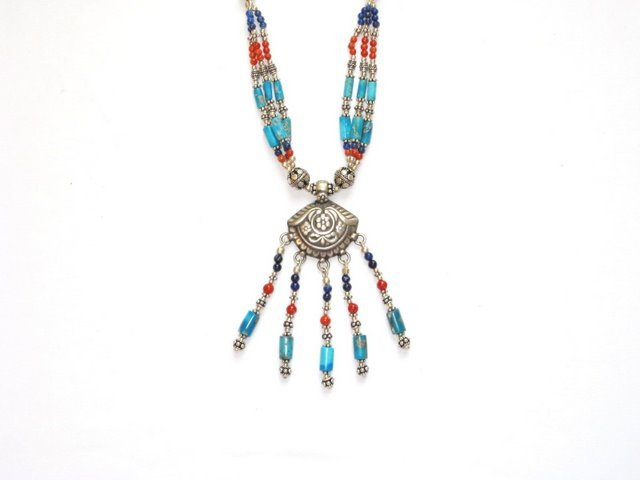 Tibetan Turquoise Coral and Lapis Lazuli Necklace in Sterling Silver
