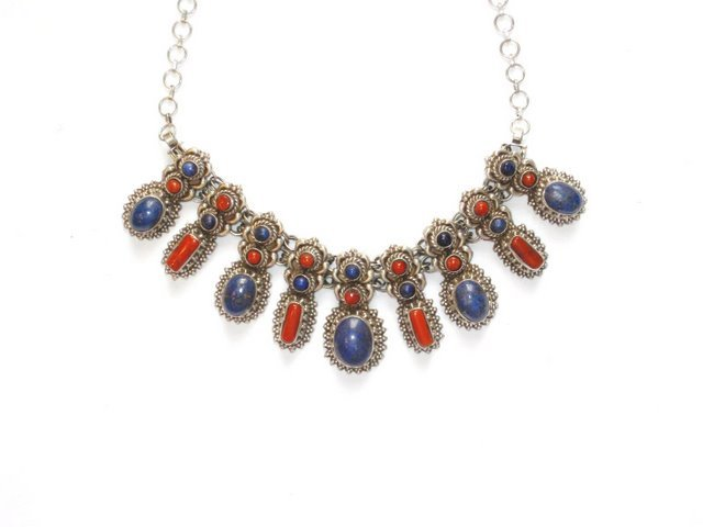 Tibetan Lapis Lazuli and Coral Necklace in Sterling Silver
