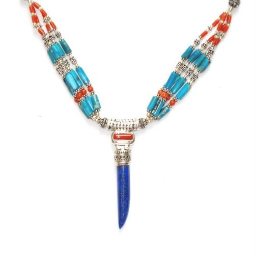 TB020       Coral, Turquoise and Lapis Lazuli Necklace in Sterling Silver