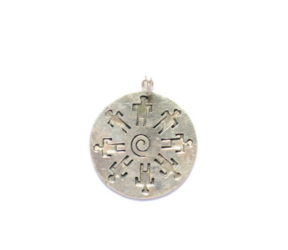 AQ019       Men in Circle Sterling Silver Pendant