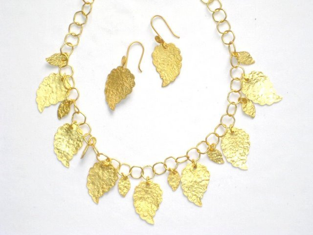 Gold Plated Necklace in Sterling Silver with Matching Earrings
