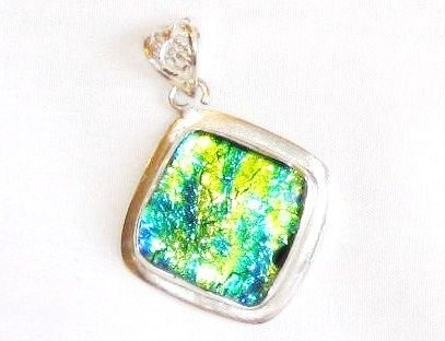 Land and Oceon Colored Dichroic Glass Silver Pendant