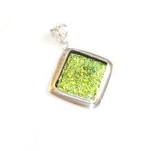 Gold Colored Dichroic Glass Silver Pendant