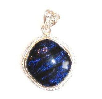 Deep Ocean Colored Dichroic Glass Silver Pendant