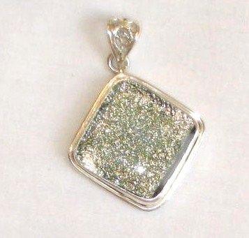 Sand Colored Dichroic Glass Silver Pendant